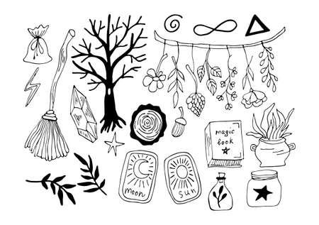 Vector magic illustrations. Hand drawn doodles sketch magician set. Witchcraft symbols - crystal, broom, forest, crystal, cards, leaves and more.
