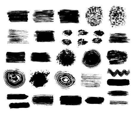 Vector illustrations. Black ink grunge textures and brush stroke set. Hand drawink ink abstract splashes set.