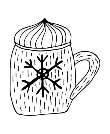 Hand drawing line art for winter cards and holidays decor. Cute mug with coffee or cocoa and snowflike decor outline illustration.