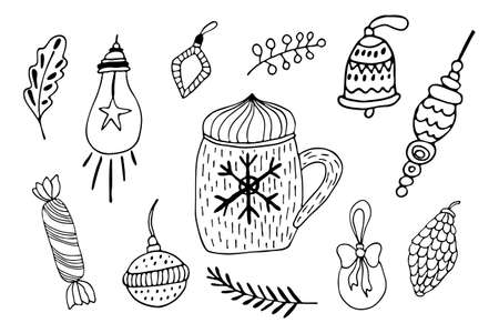 Hand drawing line art for winter holidays cards design. Candy, abstract star, ball for tree decor. Black outline Christmas ornaments and mag set vector illustration.