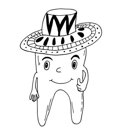 Black outline vector art. Funny toothbrush character in a cowboy hat. Hand drawing illustration for dentists.