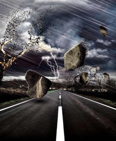 catastrophe: Temp�te sur la route Banque d'images
