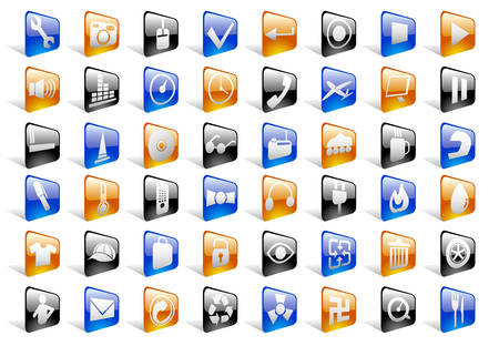 Glossy Icon Set for Web Applications - Vector Stock Vector - 4896167