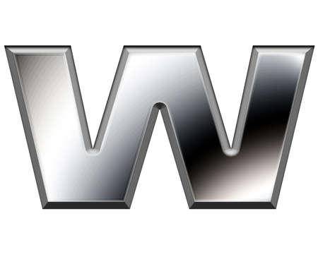 Metal alphabet symbol-W