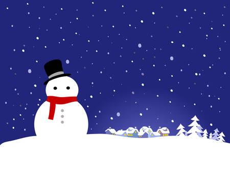 Vector Christmas Background - Snowman Stock Vector - 5902629