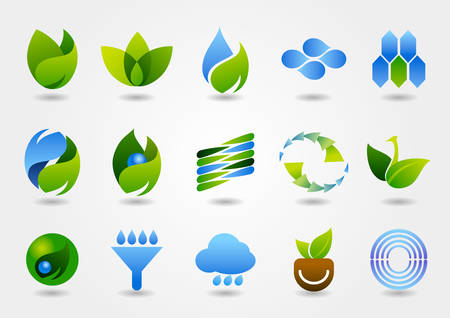 A variety of eco-energy-related icons