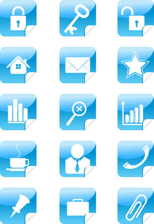 blue web icons stickers set vector illustration Vector