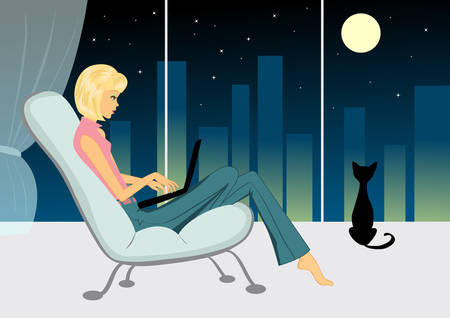 evening: Girl with cat in the evening