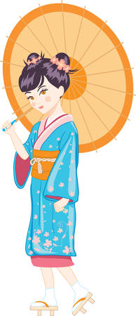 japanese girl with umbrella vector illustration Stock Vector - 6317376