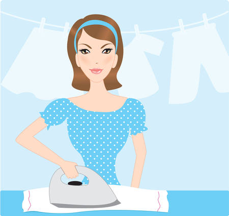 housewife ironing Vector