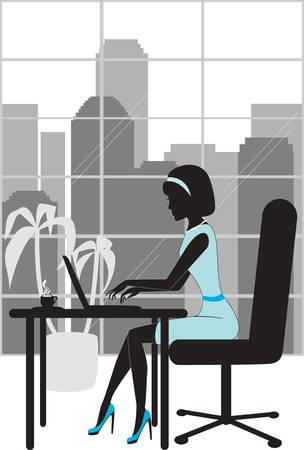 Business woman in office silhouette Stock Vector - 6317373