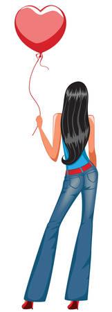 adolescent: pretty girl holding red balloon Illustration