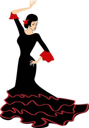 dancing flamenco girl vector illustration Vector
