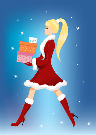Girl with Christmas presents Vector