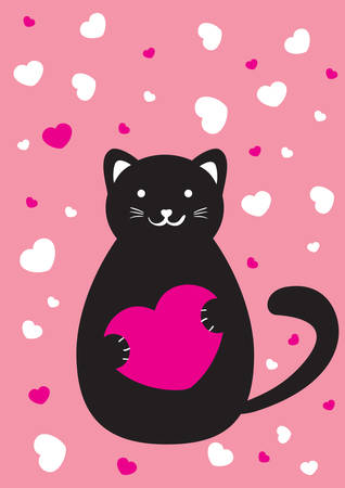 Cat with heart valentine cart Vector