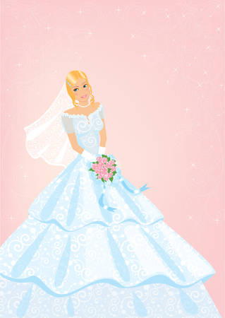 Bride with roses bouquet Vector