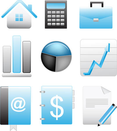 business blue icons set vector illustration Stock Vector - 6317381
