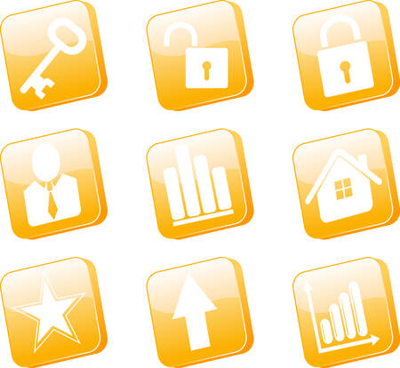 3d orange icons set vector illustration Stock Vector - 6317324