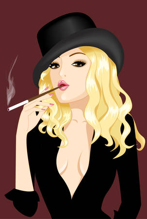 nice girl in hat smoke cigar