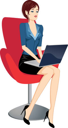 woman laptop: woman with laptop vector illustration