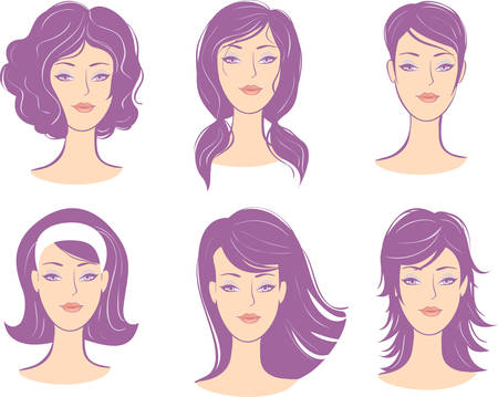 set woman face hairstyle Illustration