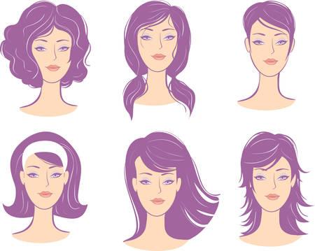 hairstyling:  peinado de cara de mujer conjunto