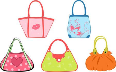 designer bag: establecer la ilustraci�n de bolsas de la mujer