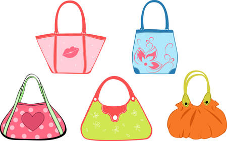 shoulder buttons: set womans bags illustration