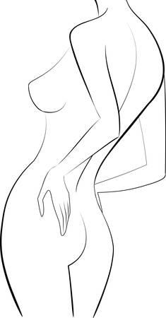 femme nue: Esquissez femme dos illustration