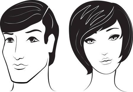man face profile: cara de hombre y mujer  Vectores