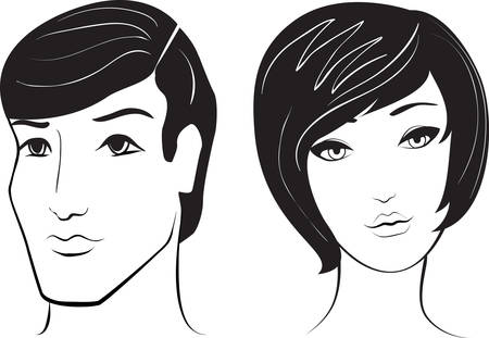 man and woman face Stock Vector - 6809216