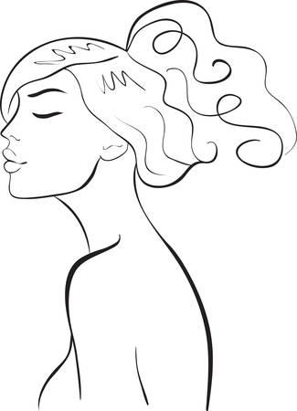 perfil de mujer rostro: cara de ni�a
