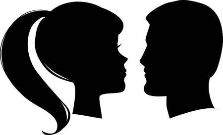 man face profile: cara de mujer y hombre  Vectores