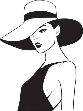 hat nude: The beautiful woman in a hat Illustration