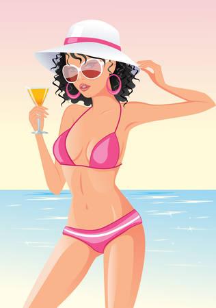 Young beautiful sexy tanned  woman in hat and bikini on sea beach Stock Vector - 6882676
