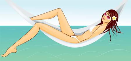Woman resting in hammock Vector