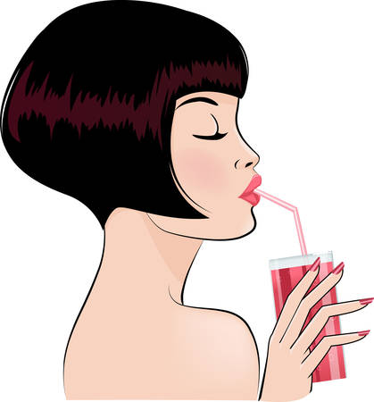 sexy girl drinking cocktail  Vector