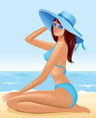 hat nude: beautiful  girl sitting in hat  on sea beach Illustration