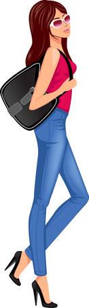 moda casual: chica de moda con bolsas