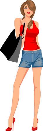chica de moda con bolsas