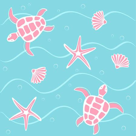 oceanside: marine background Illustration