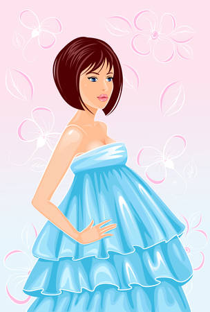 pregnant woman in nice dress Vector