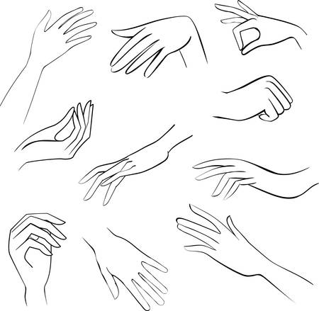 girl drawing: sketch set woman hands Illustration