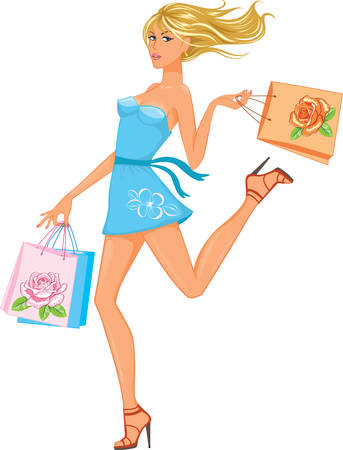 woman run: Shopping girl  Illustration
