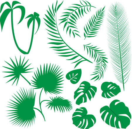 leaves pattern:   set green leaves Illustration