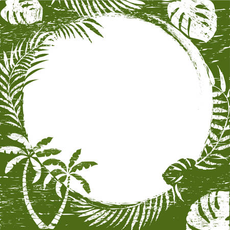 palm branch: grunge abstract border background