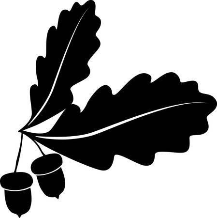 oak acornl style tree Vektoros illusztráció