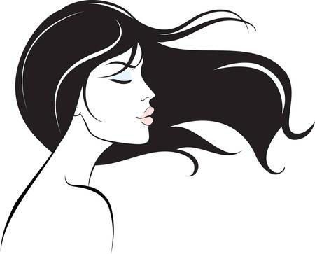 long hair woman: cara de mujer con pelo largo y negro