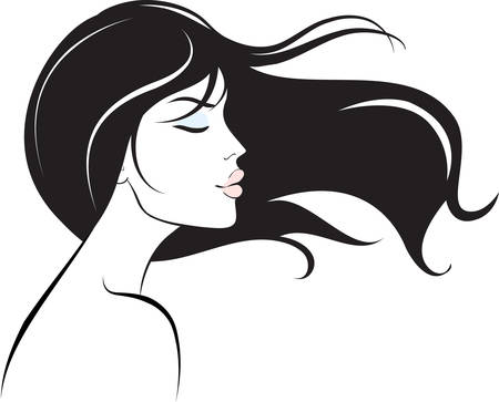 woman face with long black hair  Vector