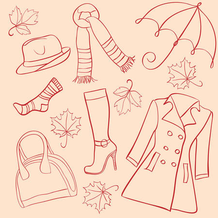 autumn woman: Set of woman autumn clothes  Illustration